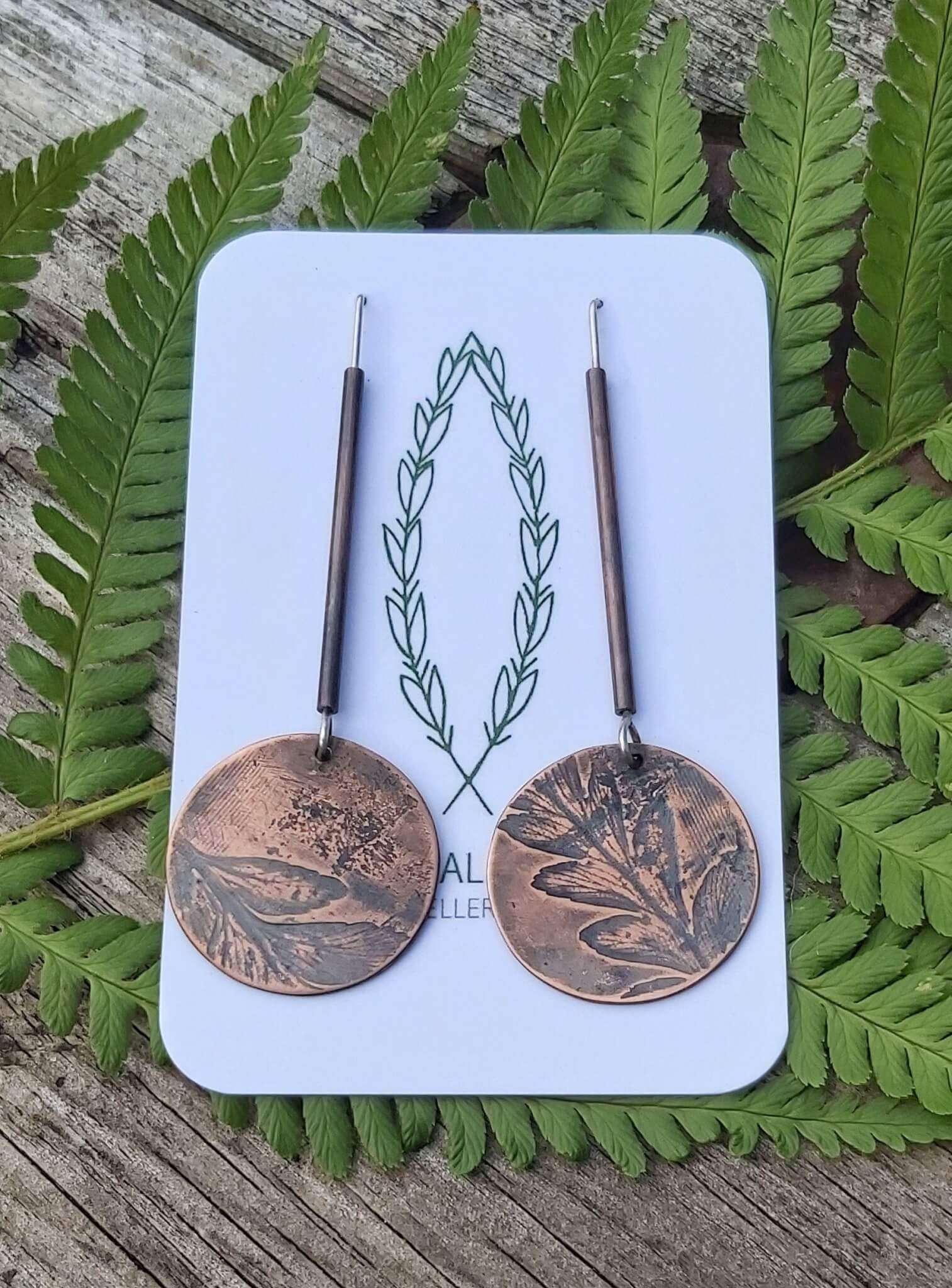 fern imprint tube drop earrings
