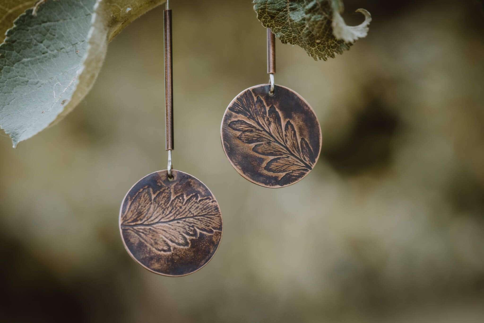 fern leaf tube earrings main