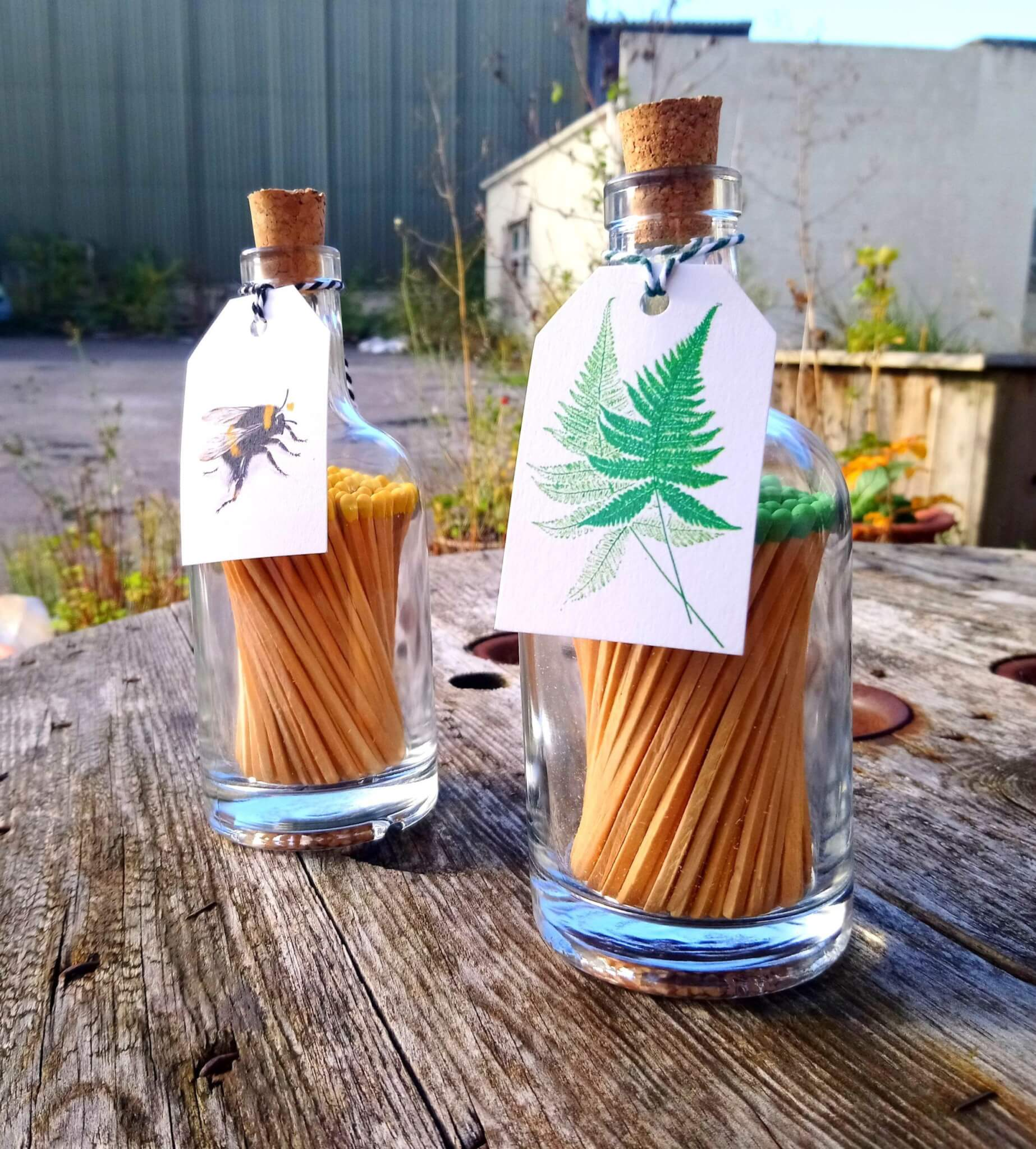 glass match bottles