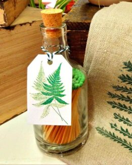 Fern glass bottle matches