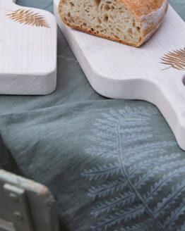 fern sage linen tea towel