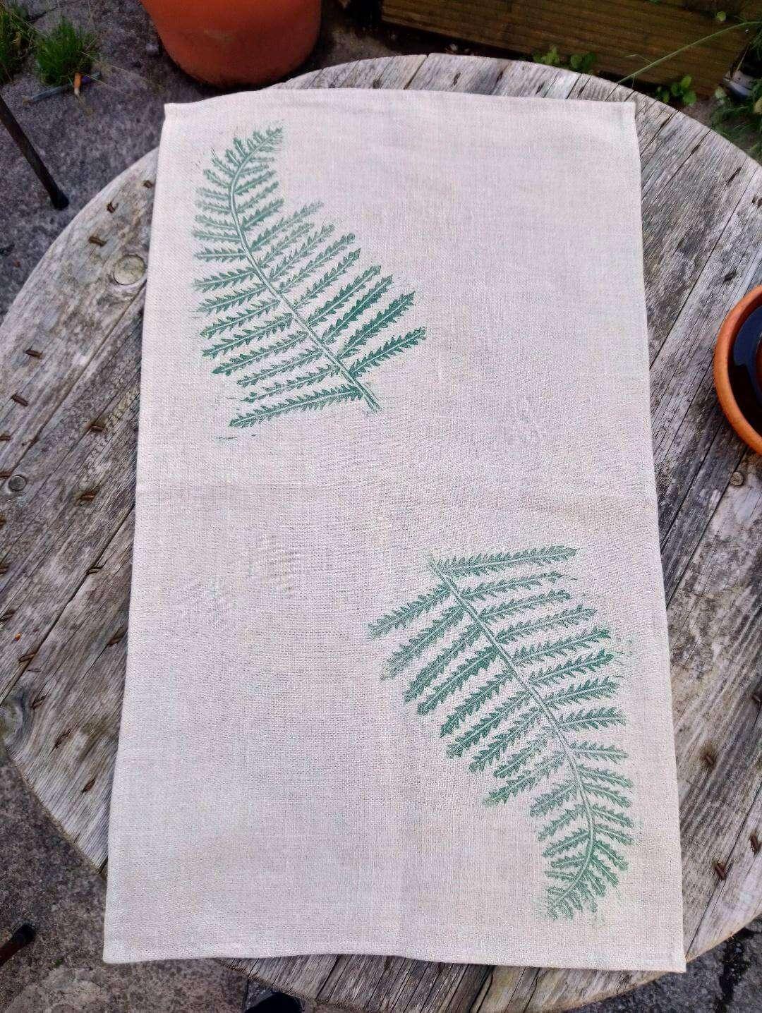 fern print linen tea towel
