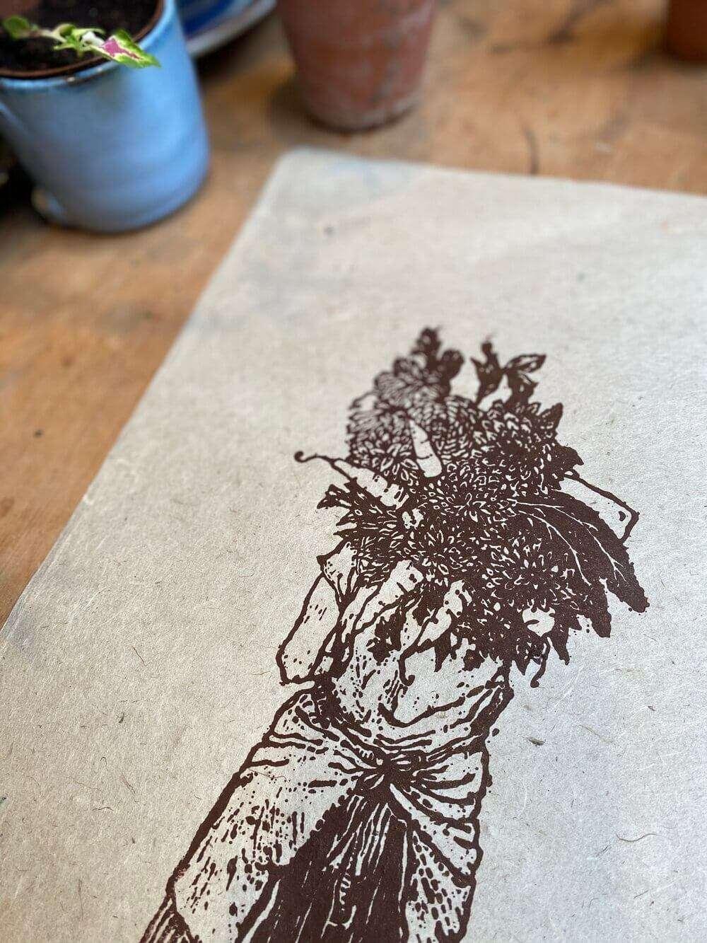 flower harvest print detail