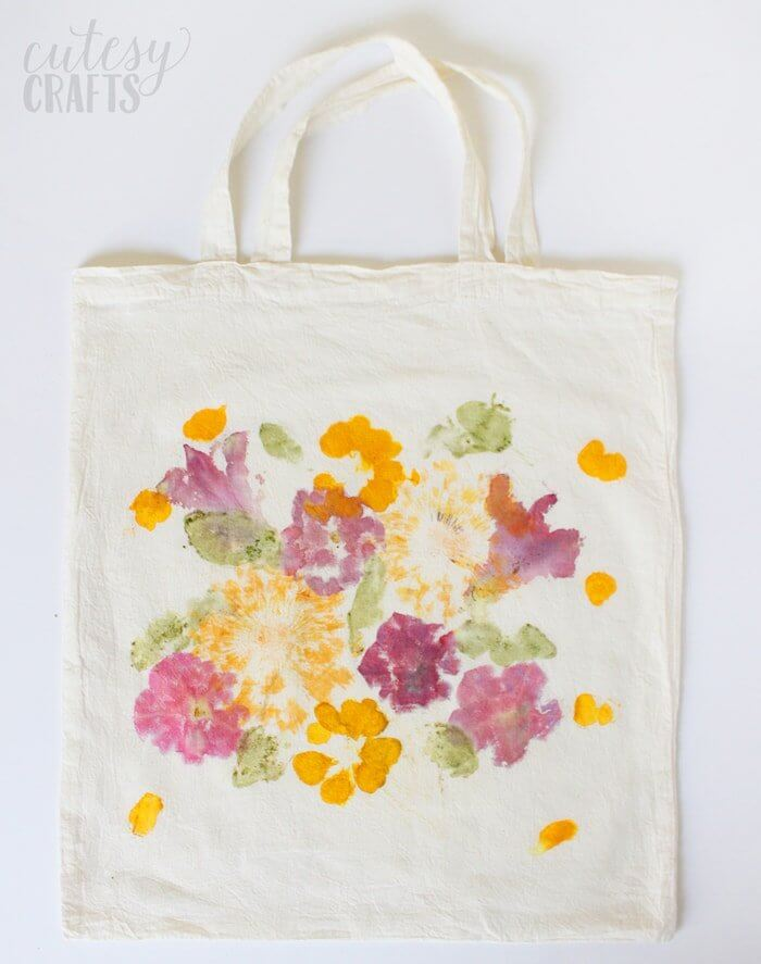 flower pounded tote bag
