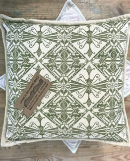 sage green block printed cushion
