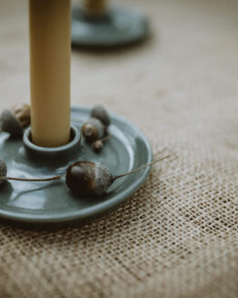 grey candle holder close up
