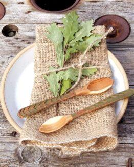 wooden jam spoons detail