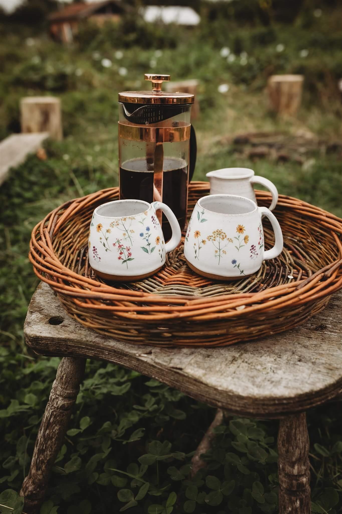 large wildflower mugs lifestyle