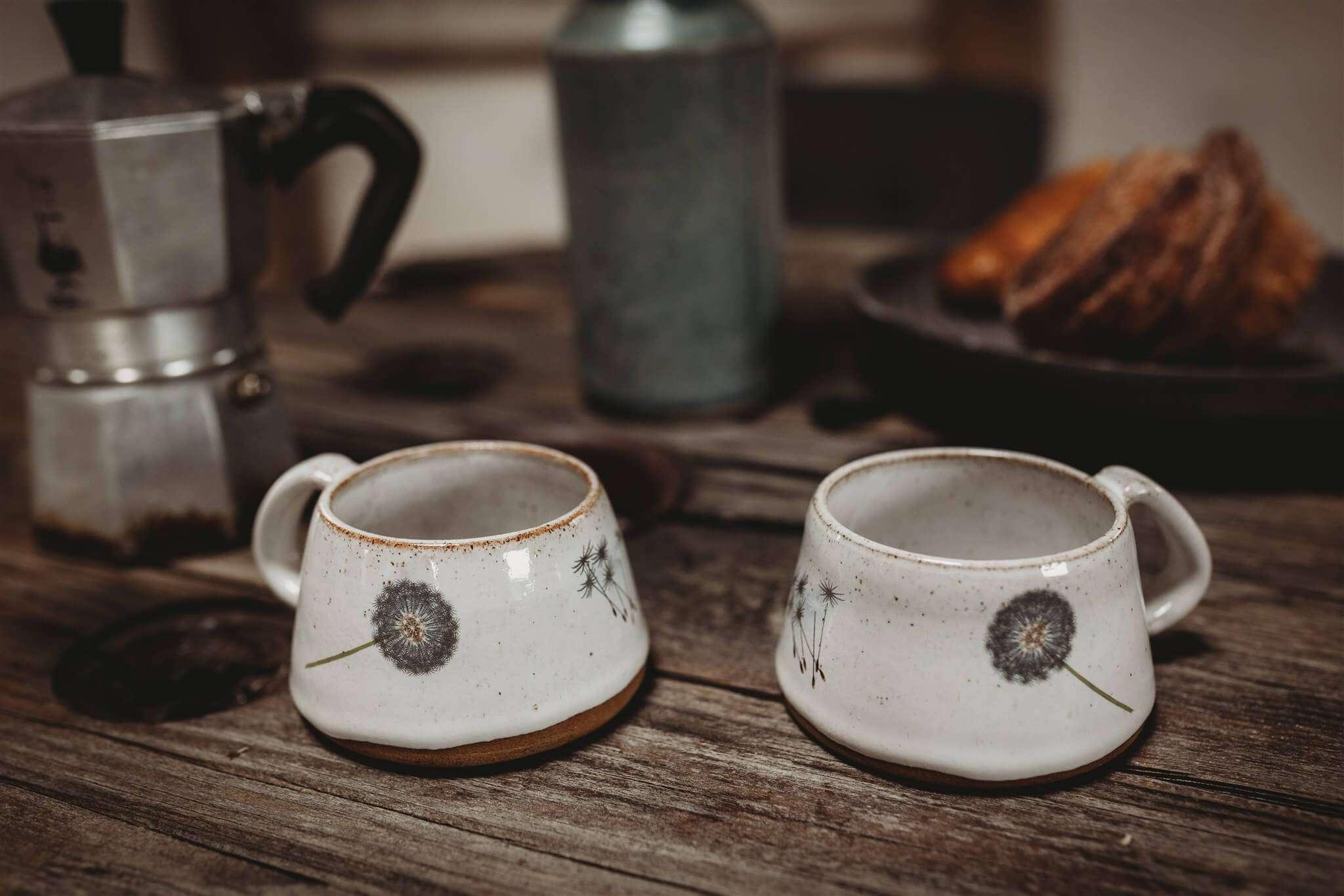 dandelion stoneware coffee cups