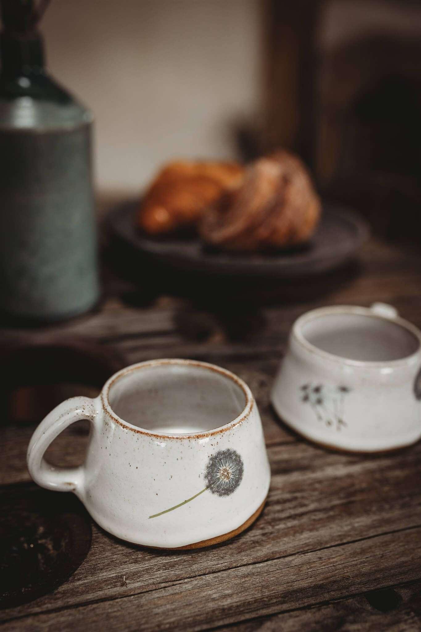 dandelion stoneware cups side on