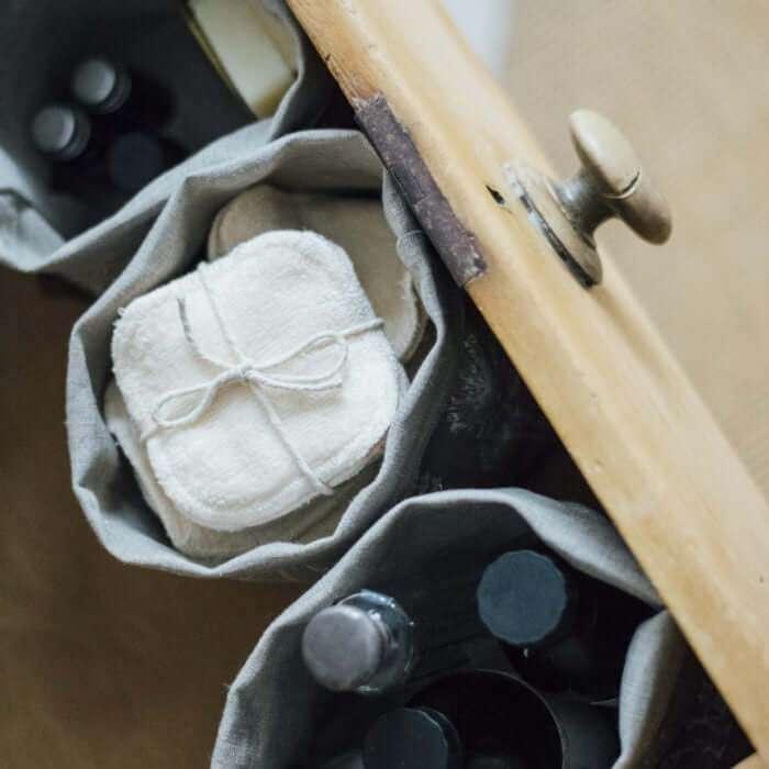 linen fabric storage pot in drawer