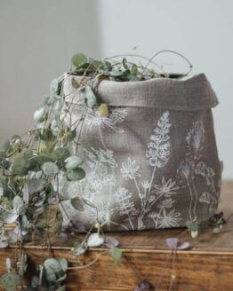 linen fabric storage pot plant