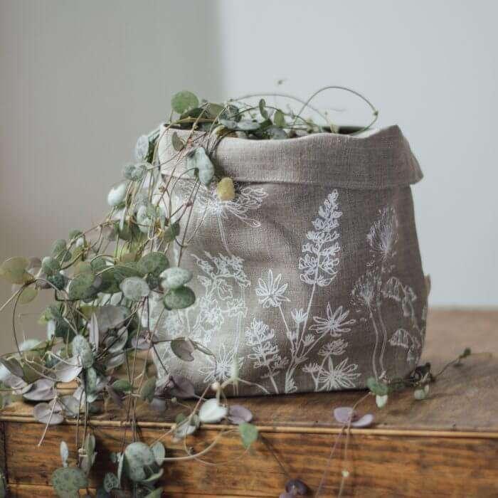 linen fabric storage pot plant
