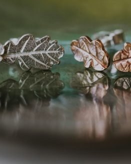 mini oak leaf stud earrings