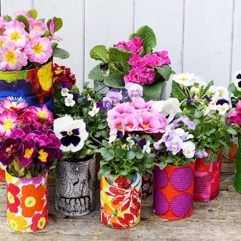 modge podge flower vases from tin cans with flowers