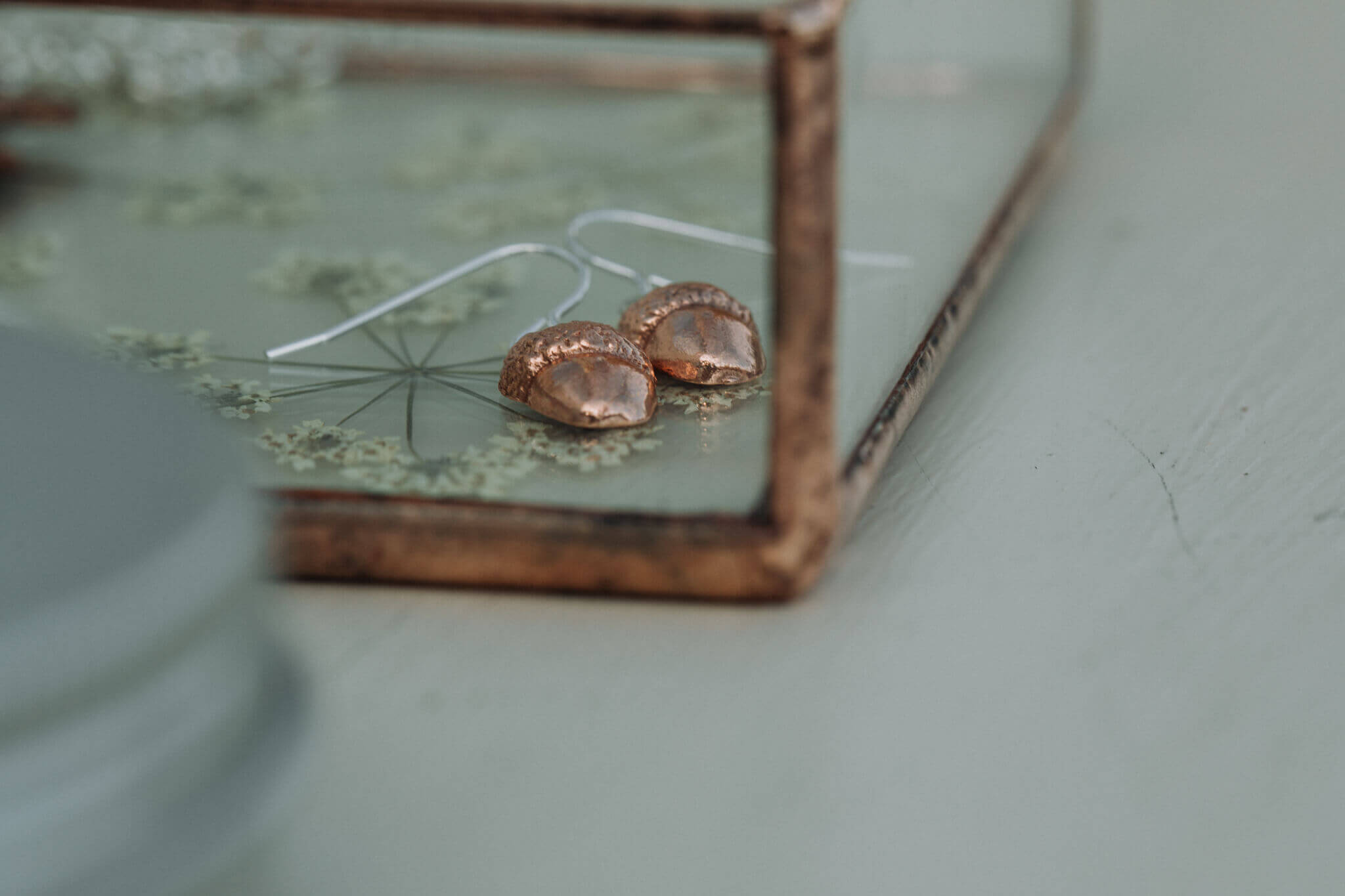 new detail shot of pressed flower jewellery tray