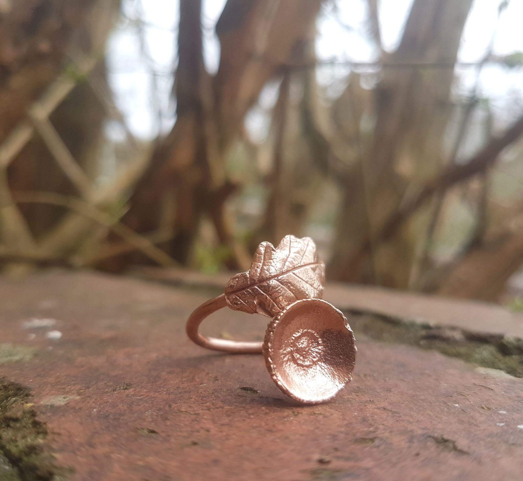 oak leaf and acorn copper ring