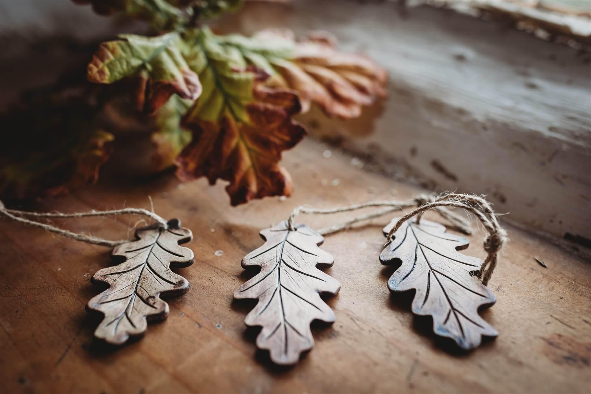 Ceramic oak leaves