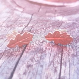 oak leaf stud earrings copper