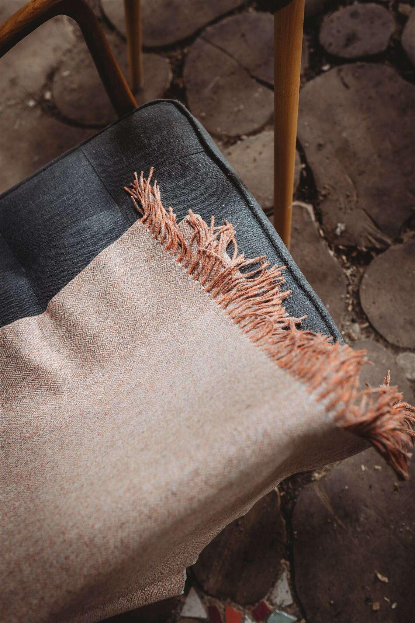 orange herringbone blanket top down