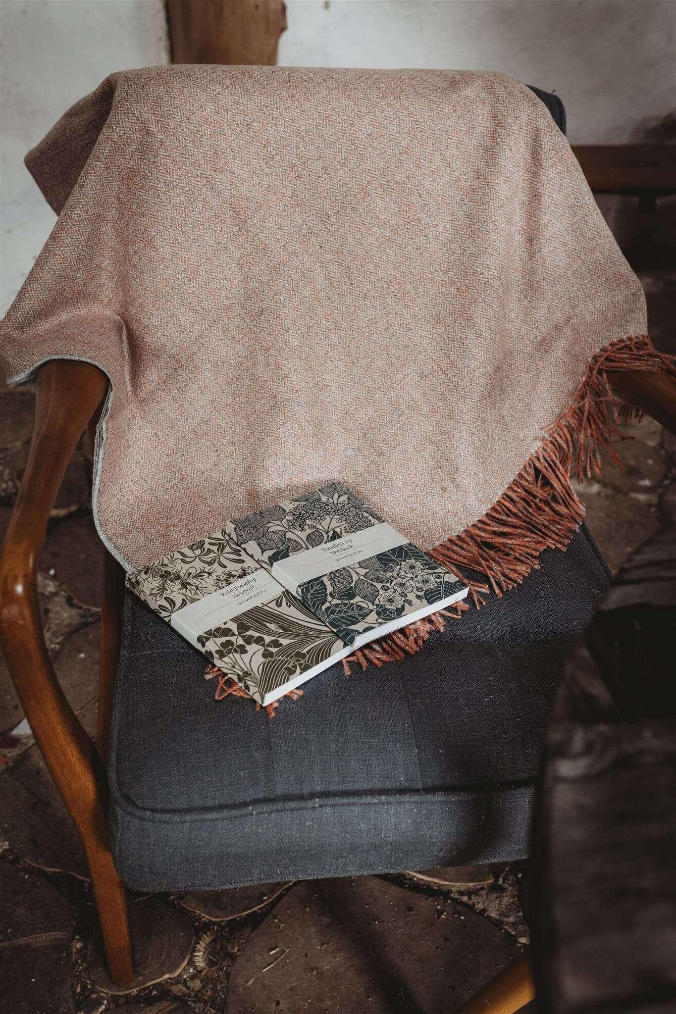 orange herringbone blanket