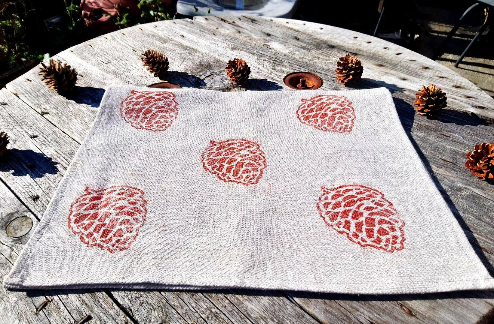 pinecone linen tea towel folded