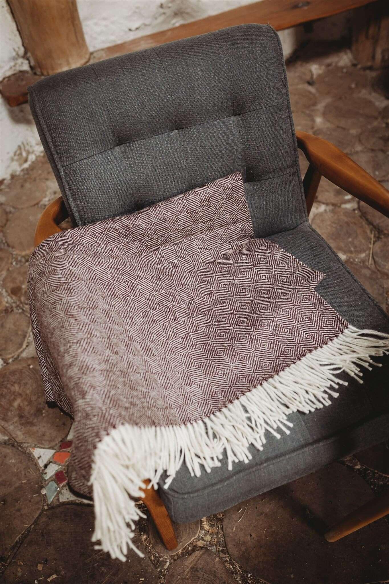 Wine red diamond block blanket main
