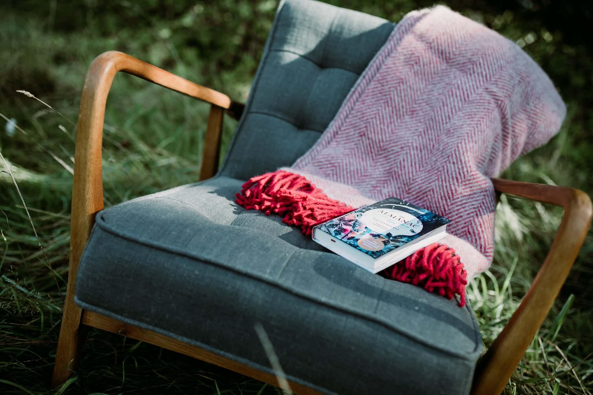 berry silver herringbone blanket