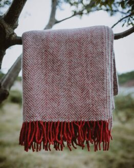 red silver wool blanket