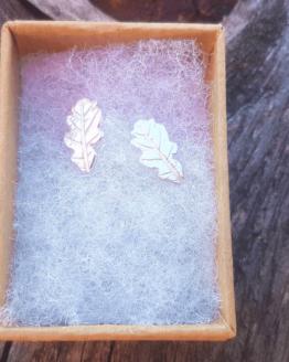 silver leaf stud earrings in gift box