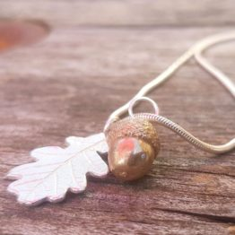 silver oak leaf and acorn necklace copy