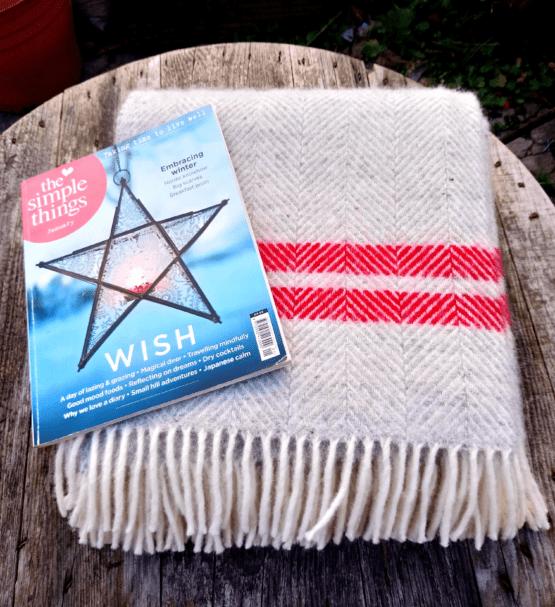 silver red stripe blanket