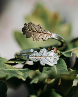 silver yellow bronze oak leaf ring