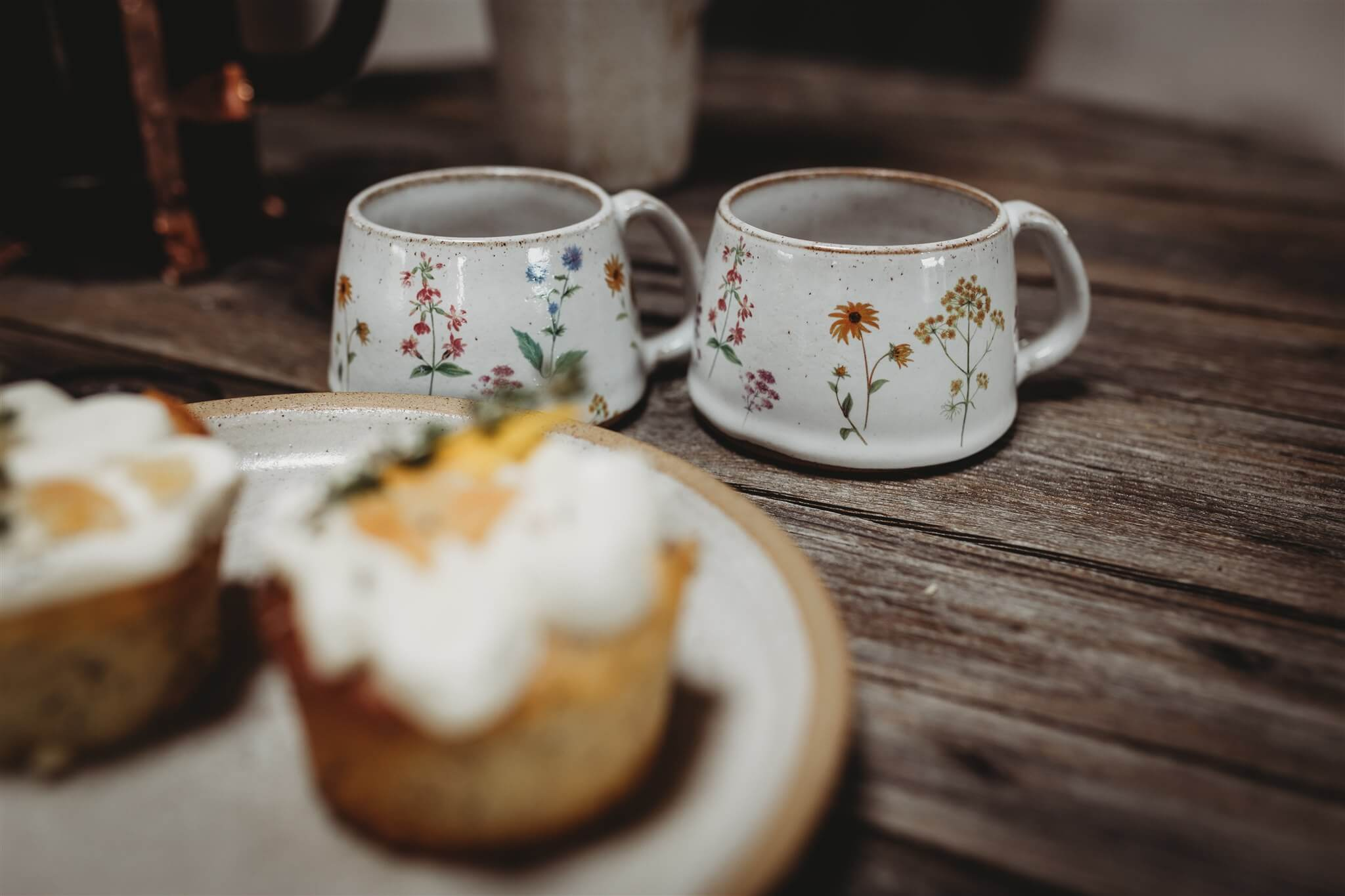 small wildflower coffee cups