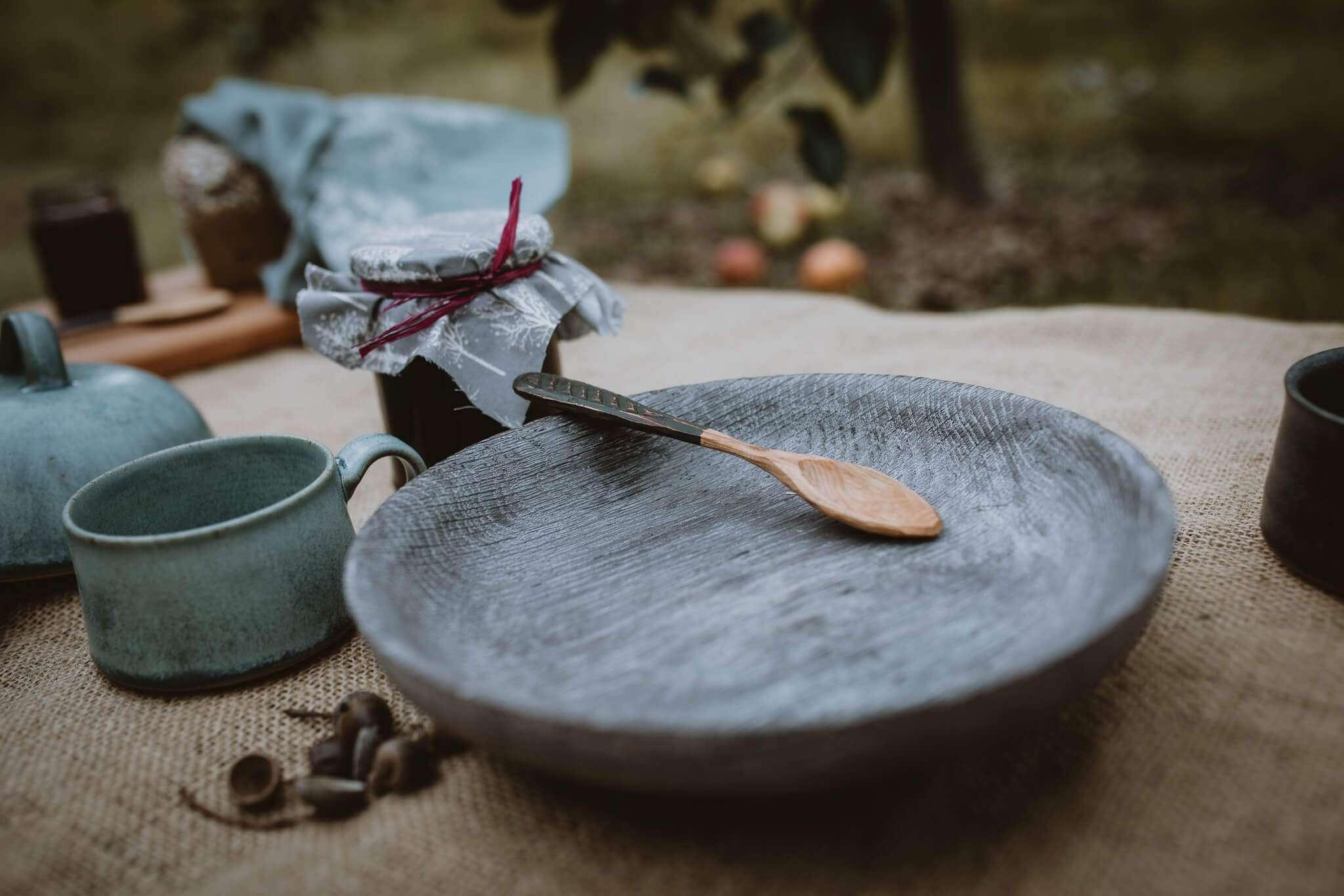 smoked oak bowl close up