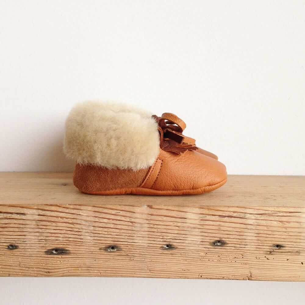 Rose Choules Tan leather baby moccasins side
