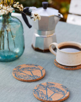 teal fennel cork coasters