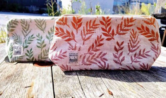 Linen leafprint makeup bag