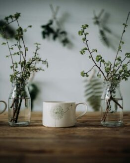 Wendy Calder white green mugs