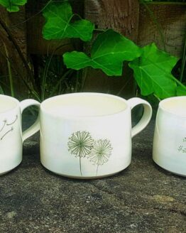 wendy calder green on white coffee cups