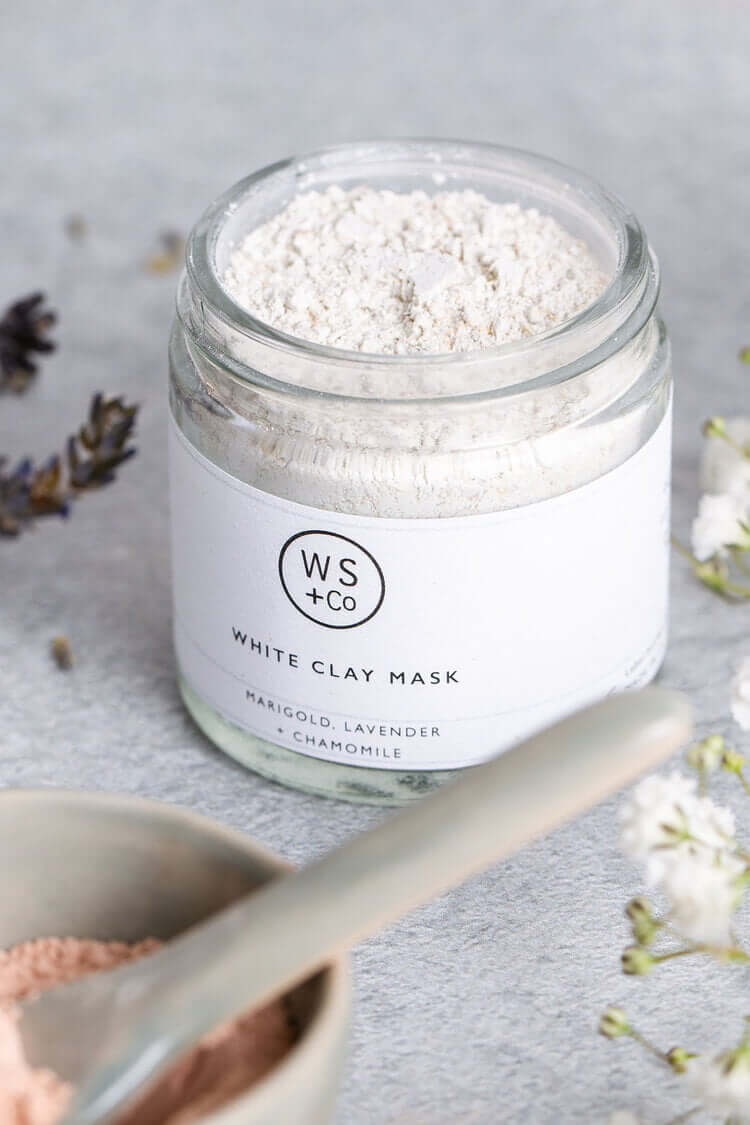 white clay mask close up