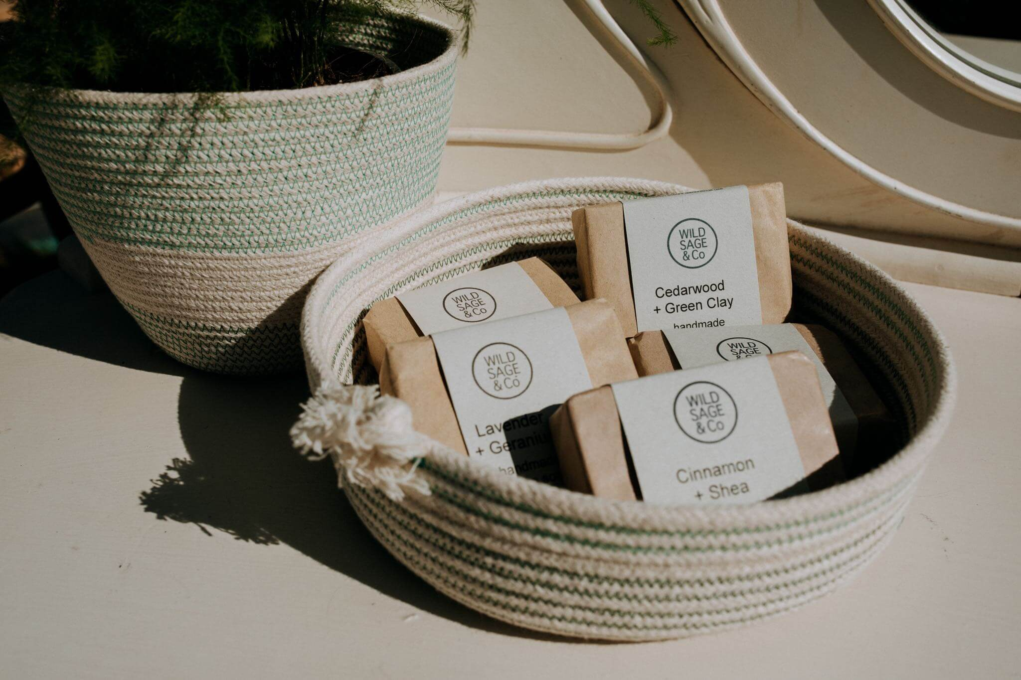 wild sage soaps in rope bowl