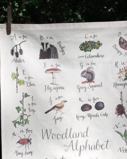 woodland tea towel close up