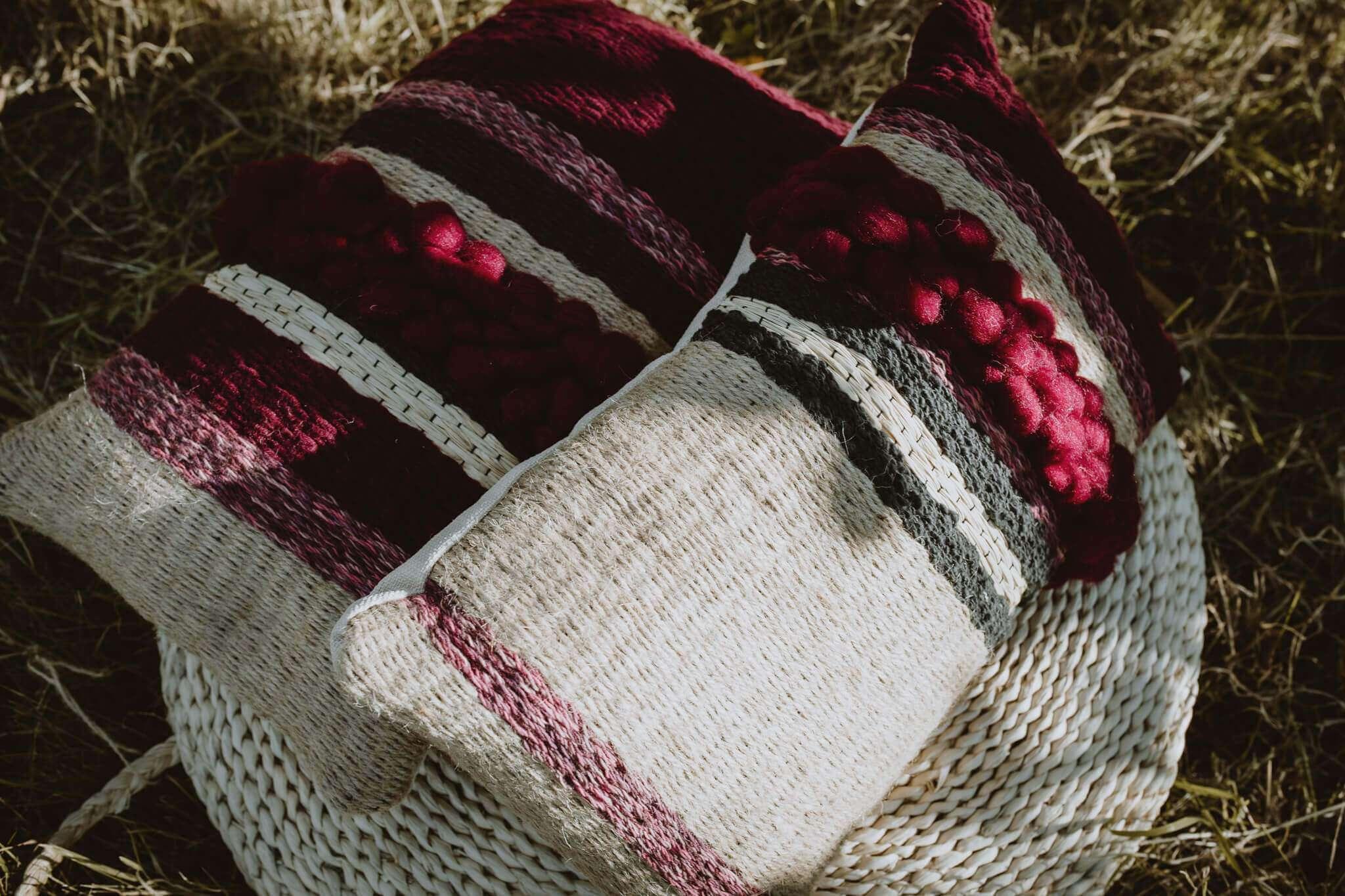 woven cushions shadowy