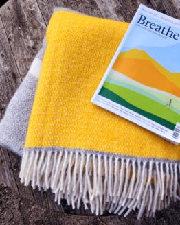 yellow grey windmill stripe blanket